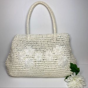 Esprit De Corp White Raffia Shoulder Bag W/Flowers